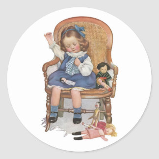 Girl Sewing Dollies Classic Round Sticker