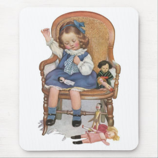 Girl Sewing Dollies Mouse Pad