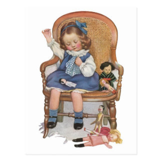 Girl Sewing Dollies Postcard