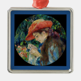 Girl Sewing in the Garden Metal Ornament