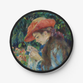 Girl Sewing in the Garden 7 Inch Paper Plate