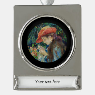 Girl Sewing in the Garden Silver Plated Banner Ornament