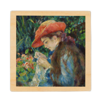 Girl Sewing in the Garden Wooden Coaster
