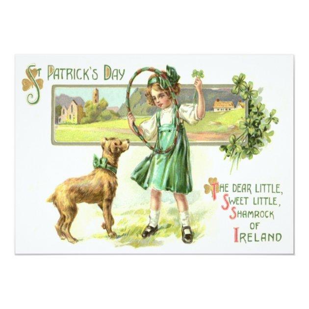 Girl Shamrock Four Leaf Clover Dog Hoop 5x7 Paper Invitation Card