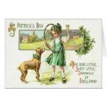 Girl Shamrock Four Leaf Clover Dog Hoop Greeting Card