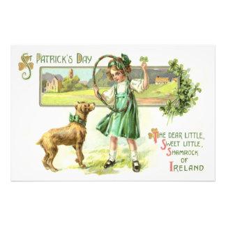 Girl Shamrock Four Leaf Clover Dog Hoop Photo Print