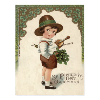 Girl Shamrock Violin Postcard
