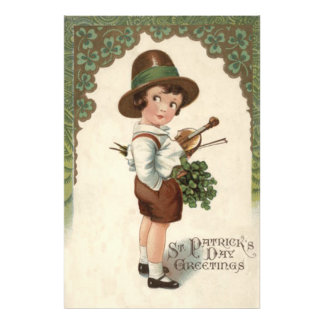 Girl Shamrock Violin St Patrick's Day Photo Print