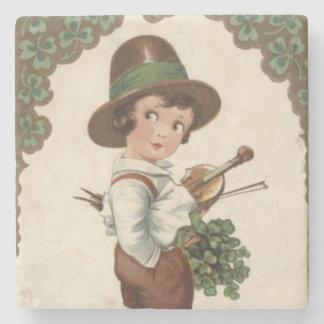 Girl Shamrock Violin St Patrick's Day Stone Coaster