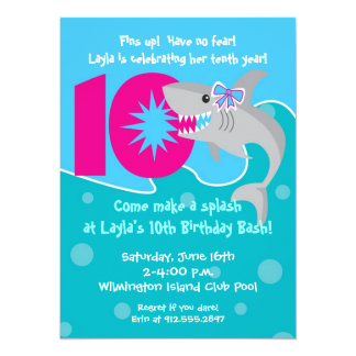 Girl Shark Bite Invite- 10th Birthday Party 5.5x7.5 Paper Invitation Card