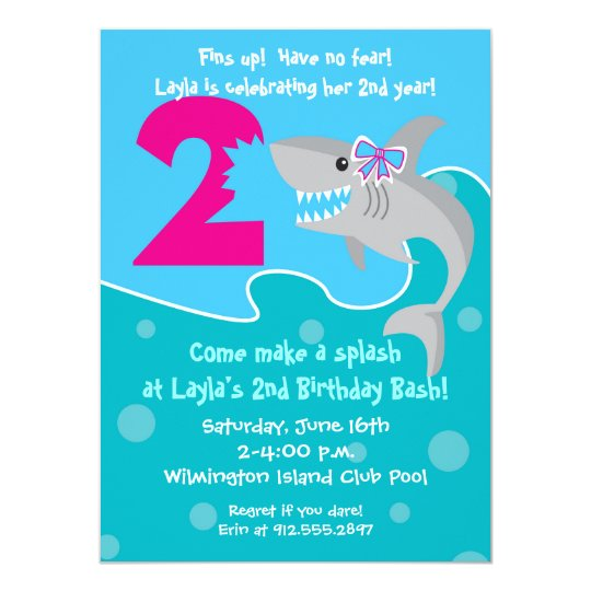 Girl Shark Bite Invite 2nd Birthday Party Invitation