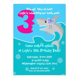Girl Shark Bite Invite- 3rd Birthday Party Card