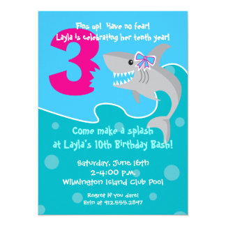 Girl Shark Bite Invite- 3rd Birthday Party 5.5x7.5 Paper Invitation Card