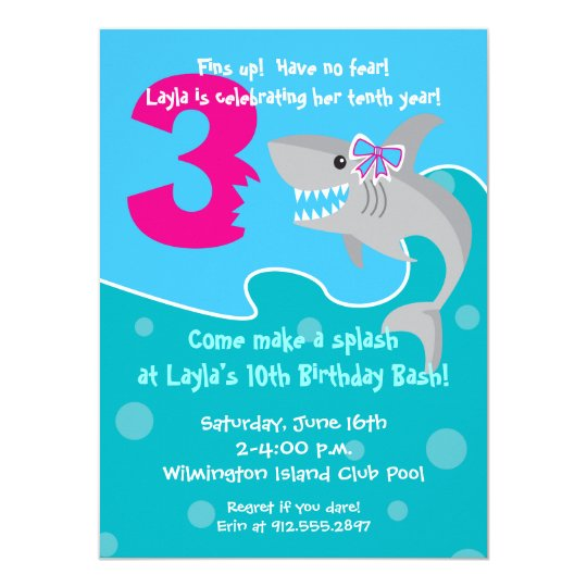 Girl Shark Bite Invite 3rd Birthday Party Invitation Zazzle