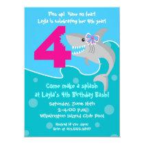 Girl Shark Bite Invite- 4th Birthday Party Invitation