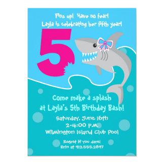 Girl Shark Bite Invite- 5th Birthday Party 5.5x7.5 Paper Invitation Card