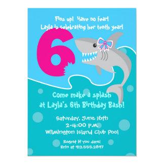 Girl Shark Bite Invite- 6th Birthday Party 5.5x7.5 Paper Invitation Card