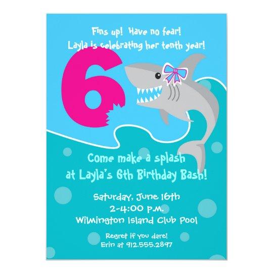 Girl Shark Bite Invite 6th Birthday Party Invitation