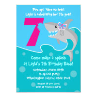 Girls 7th birthday party invitations announcements zazzle girl shark bite invite 7th birthday party stopboris Choice Image