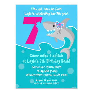 7th birthday invitations announcements zazzle girl shark bite invite 7th birthday party card stopboris Gallery