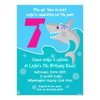 Girl Shark Bite Invite- 7th Birthday Party 5.5x7.5 Paper Invitation Card