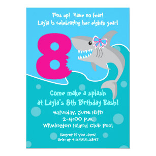 Girls 8th birthday party invitations announcements zazzle girl shark bite invite 8th birthday party card filmwisefo Choice Image
