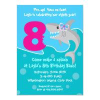 Girls party 8th birthday invitations announcements zazzle girl shark bite invite 8th birthday party filmwisefo