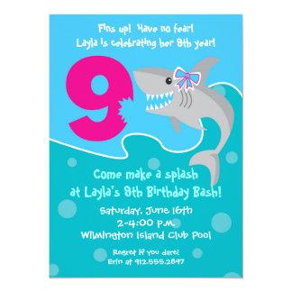 Girl Shark Bite Invite- 9th Birthday Party 5.5x7.5 Paper Invitation Card