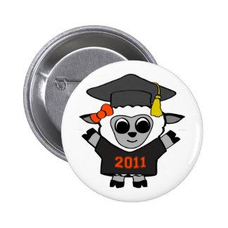 Girl Sheep Black & Orange 2011 Grad Pinback Button