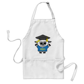 Girl Sheep Blue & Gold 2011 Grad Adult Apron