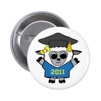 Girl Sheep Blue & Gold 2011 Grad Pinback Buttons