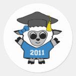 Girl Sheep Blue & White 2011 Grad Round Sticker