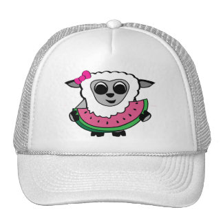 Girl Sheep Eating Watermelon Hats