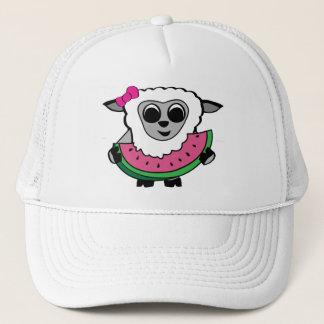 Girl Sheep Eating Watermelon Trucker Hat