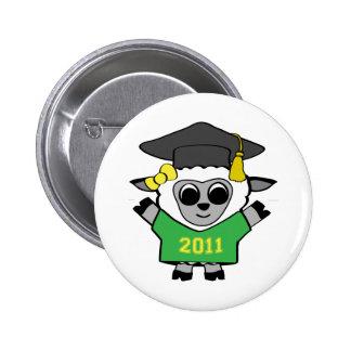 Girl Sheep Green & Gold 2011 Grad Pinback Button
