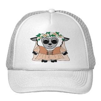 Girl Sheep in Renaissance Dress Mesh Hat