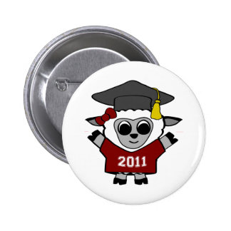 Girl Sheep Maroon & White 2011 Grad Buttons