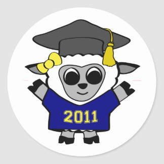 Girl Sheep Navy & Gold 2011 Grad Classic Round Sticker