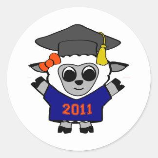 Girl Sheep Navy & Orange 2011 Grad Classic Round Sticker