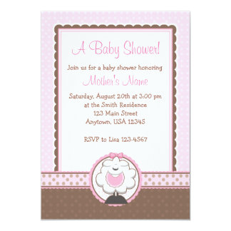 Girl Sheep Pink & Brown Baby Shower Invitations