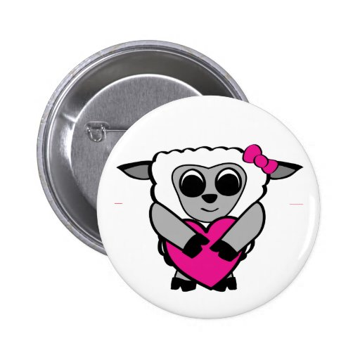 Girl Sheep with Big Heart Buttons