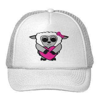 Girl Sheep with Big Heart Mesh Hat