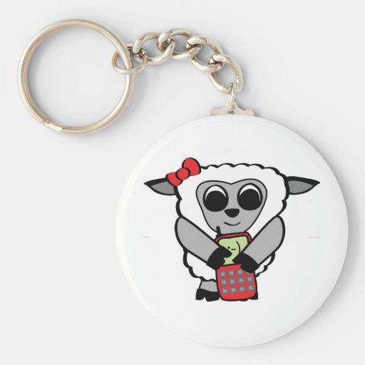 Girl Sheep with Cellphone Key Chains