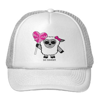 Girl Sheep with Heart Lollipop Trucker Hat