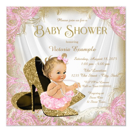 girl shoe pink gold glitter pearl baby shower card | zazzle, Baby shower invitations