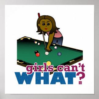 Girl Shooting Pool Poster