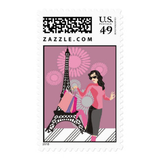 Girl Shopping in Paris Postage