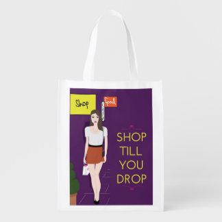 Girl Shopping Reusable Bag Grocery Bags