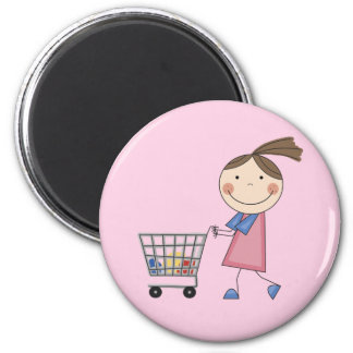 Girl Shopping T-shirts and Gifts 2 Inch Round Magnet