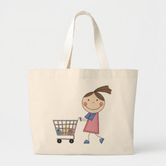 Girl Shopping T-shirts and Gifts Large Tote Bag